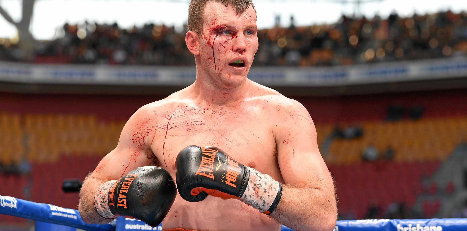 Jeff Horn during his WBO world welterweight title fight with Manny Pacquiao at Suncorp Stadium.