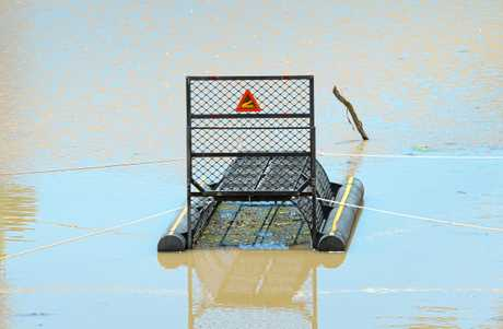A croc trap has been installed along the Fitzroy River.
