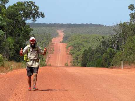 Alex Johnson on the road during his trek from Cape York to Tasmania.