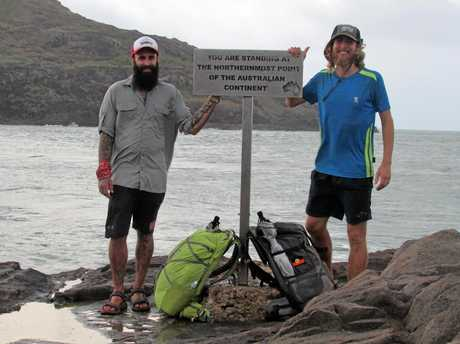 Fred Van Der Elst and Alex Johnson at the start of their epic trek from Cape York to Tasmania.