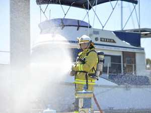 'Boat fire' at the marina part of training