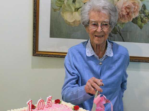 HAPPY BIRTHDAY: Mavis Berryman, a resident at the Alstonville Adventist Retirement Village, cuts the cake on her 105th birthday on September 12.