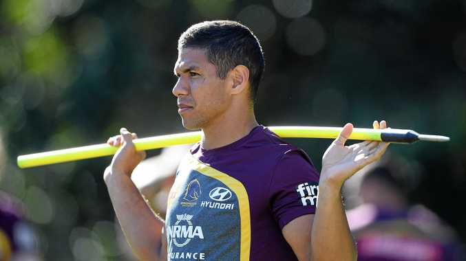 PNG-born David Mead during a Brisbane Broncos training session.