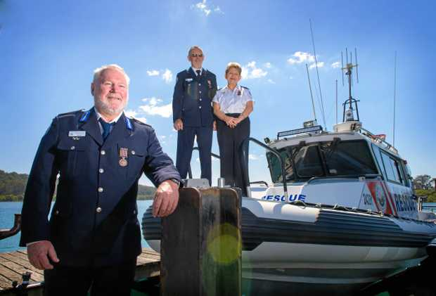 AWARDED: Stephen Reading, Jackie Taffs and Bernie Gabriel - three of four recipients of National Service Medals for service with NSW Marine Rescue Wooli.