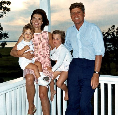 John and Jacqueline Kennedy with their two children.