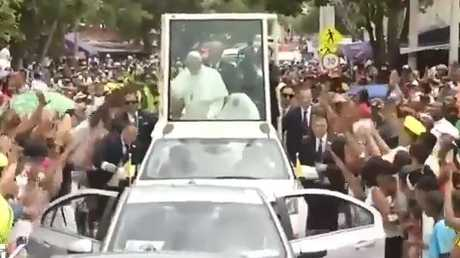 Pope Francis was hurtled into the protective screen surrounding the Popemobile.