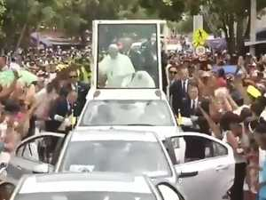 Pope Francis injured sudden stop of Popemobile