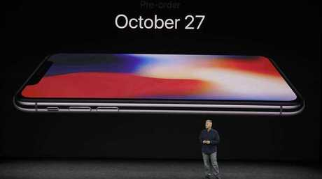 The new iPhone X is revealed at the Steve Jobs Theater on the Apple campus in California on September 12, 2017.