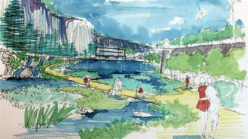 Original Toowoomba City Council plans for the Etopia quarry gardens in the Bridge Street Quarry drawn up in 2003.