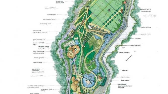 Original Toowoomba City Council plans for the Etopia quarry gardens in the Bridge Street Quarry. Photo Contributed