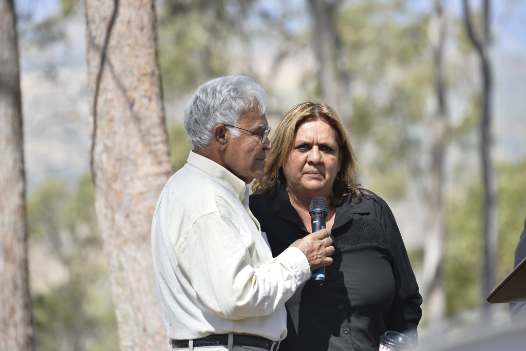 Elder Uncle Darby McCarthy and Wakka Wakka woman Patricia Conlon at the Friends of Multuggerah ceremony Remebering the Battle of One Tree Hill at Tobruk Memorial Dr, Tuesday, September12, 2017.