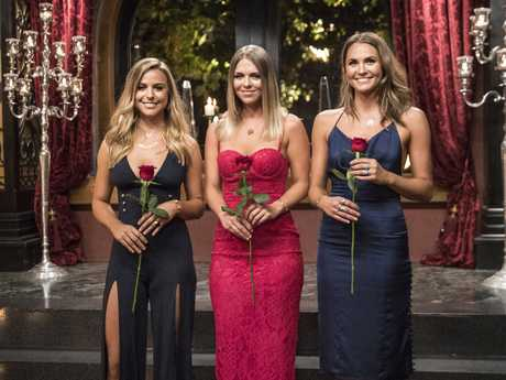 The Bachelor semi-finalists Tara, Elise and Laura pictured after receiving roses at the rose ceremony. Supplied by Channel 10.
