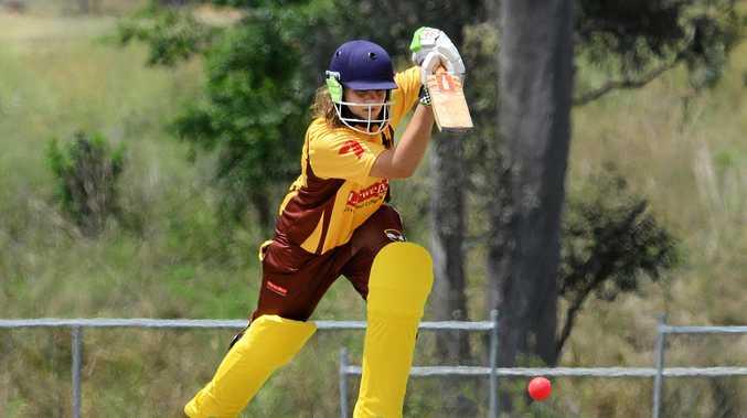 Jodie Fields Shield womens cricket match between Ipswich Logan Hornets Vs Western Suburbs at Baxter Oval. Batting for Hornets Georgia Voll.
