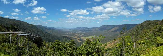 The Pioneer Valley view from the Eungella Chalet with the hang-gliding ramp to the left.