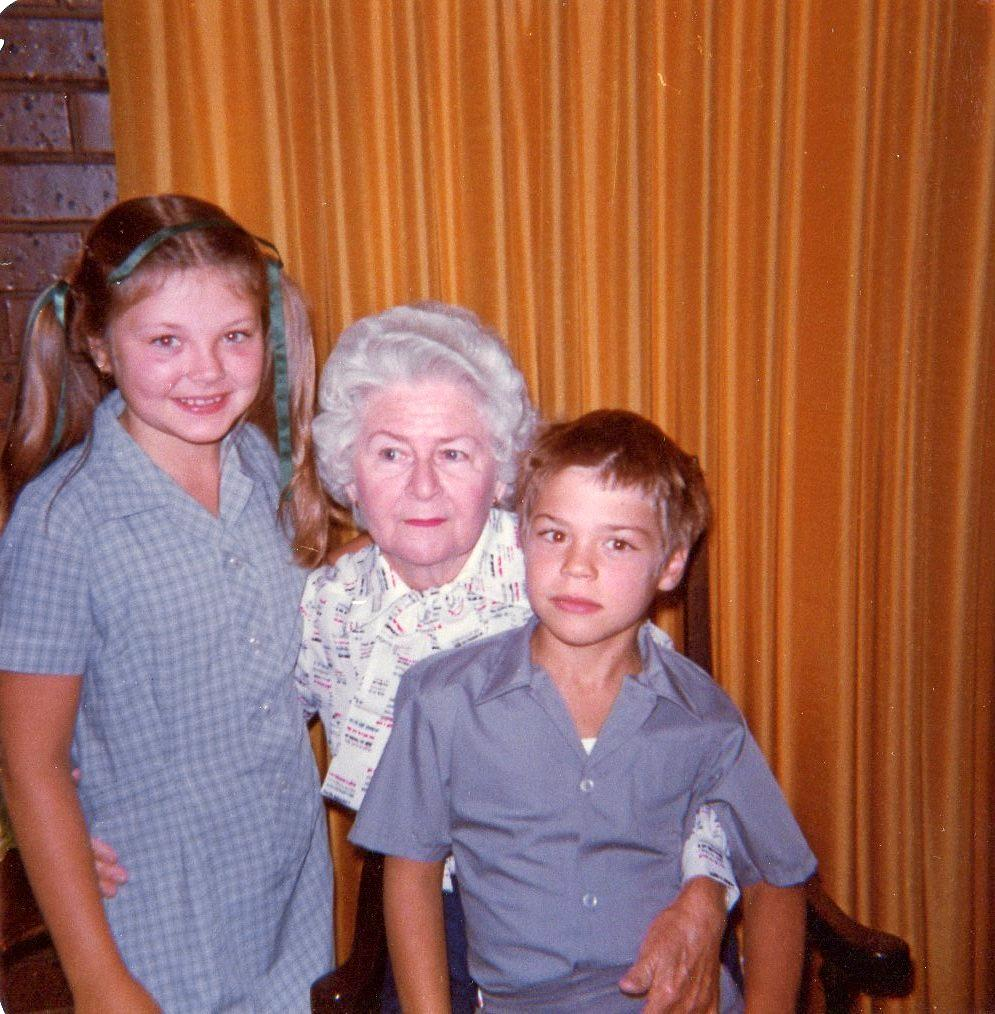 Anne Cox with her god children Cecilia and Aivan Antica.