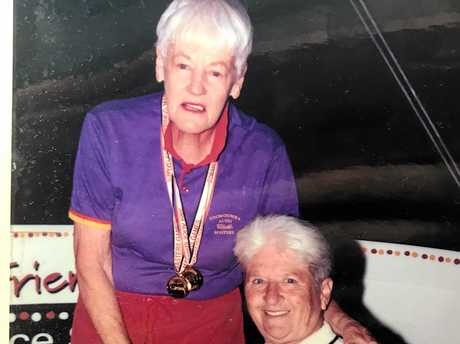 Toowoomba's Ann Todd with Olympic swimming legend, Dawn Fraser.