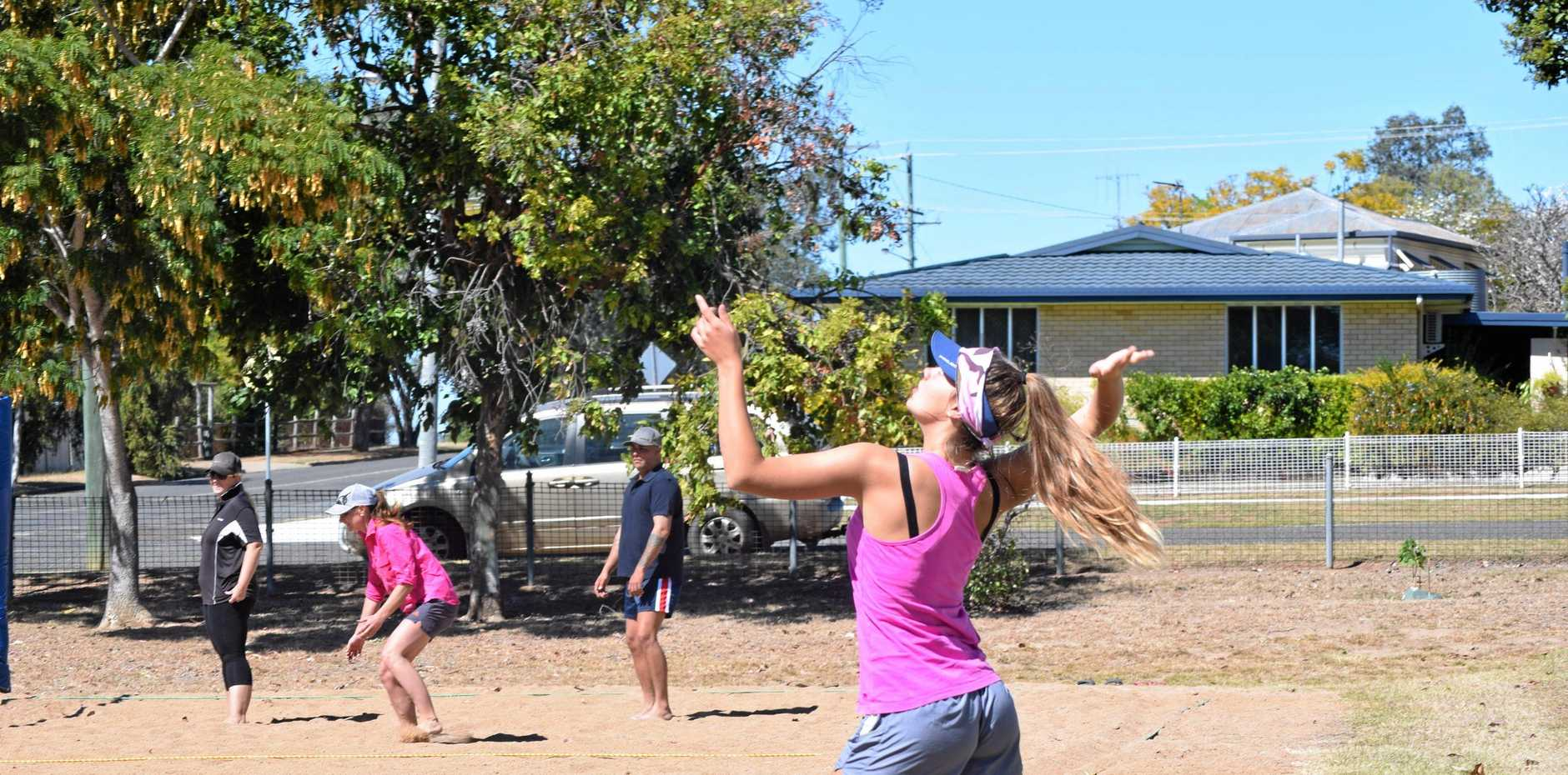FOCUS: Nicola Thorburn in action at the volleyball comp.