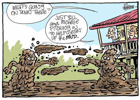 DOWN AND DIRTY: Plenty of mud is flying around the political arena regarding the construction of the South Rockhampton flood levee.