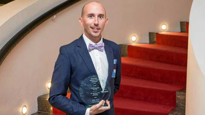 ABOVE: CQUniversity researcher Adam Rose won the Student Prize in the Queensland Water Awards 2017 on Friday night.