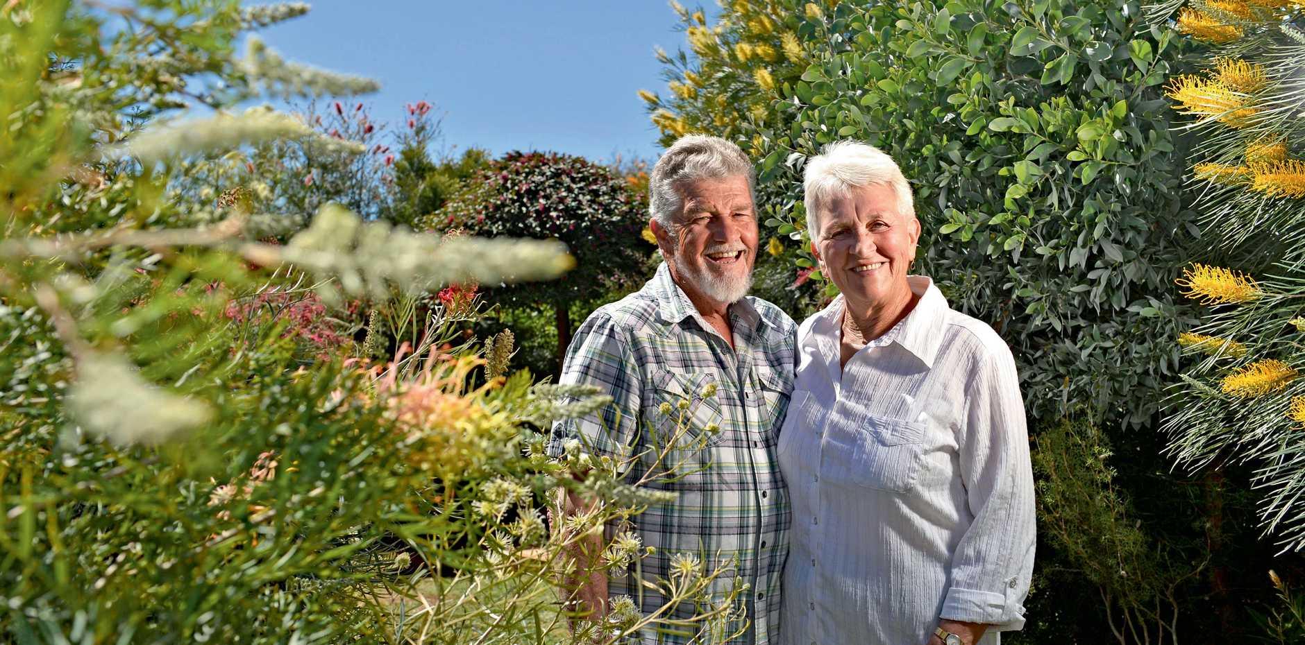 BUZZING BEAUTY: Gordon and Maria Reynolds, 40 Smythe Dr, in their winning garden.