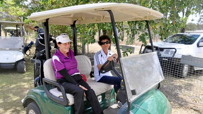 Maureen Johnstone (right) teamed up with Wal Wilkes to win at Monto Golf Club.