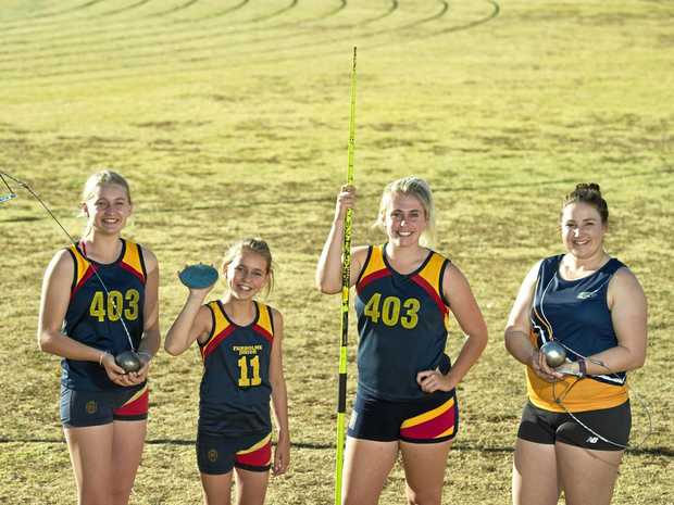 Fairholme Athletics Club members (from left) Bella McLoughlin, Rose McLoughlin, Ellie Bowyer and Lara Nielsen.