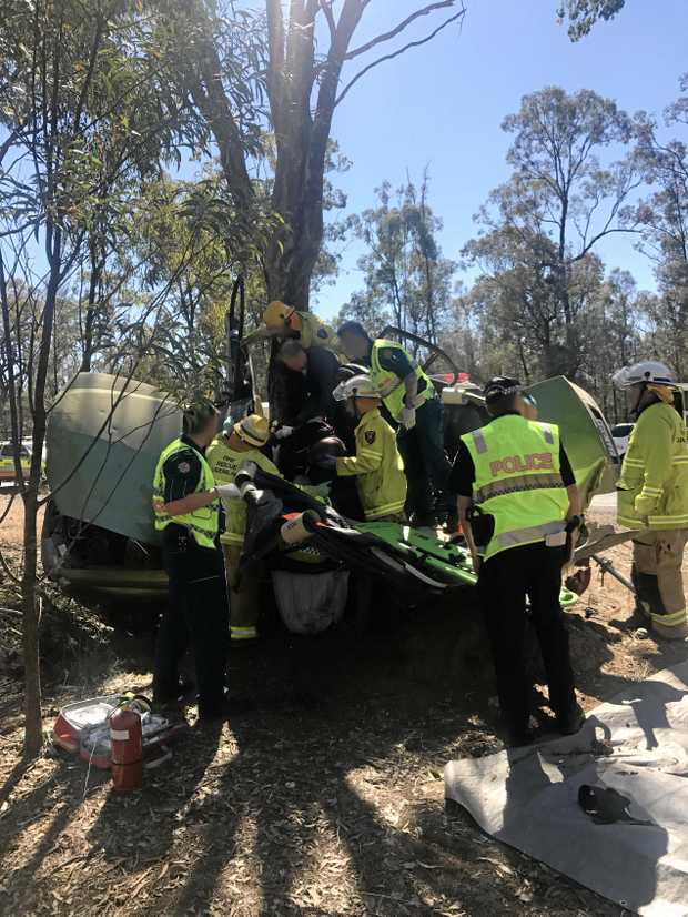 A man in his 30s was airlifted to the Princess Alexandra Hospital in Brisbane after his car left the road and  struck a tree on the Toowoomba Karara Rd near Leyburn on Saturday.