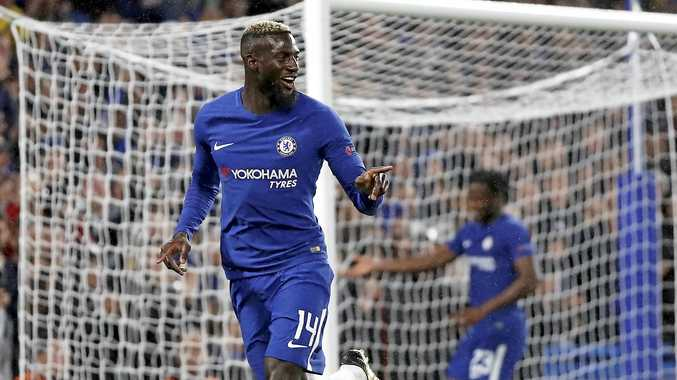 Chelsea's Tiemoue Bakayoko celebrates after scoring in the 6-0 win over Qarabag.