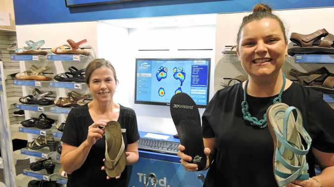 Williams the Shoemen 2IC Krissy Byrne and cluster manager Sara Willkopp are excited for their customers to try the newly installed Foot Map.