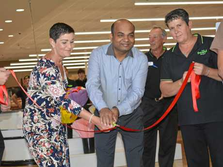 Lockyer Valley Mayor Tanya Milligan and owner Niraj Shekhawatia open the new IGA Hatton Vale store on Wednesday, September 13.