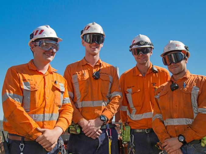 JOB READY: Rio Tinto Yarwun apprentices Richie O'Brien, Alex Smith, Morgan Dahl and Zac Piredda are keen to meet the 2018 apprenticeship programme recruits.