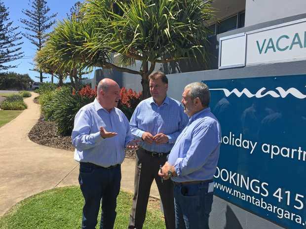PRICE HIKE: Opposition energy spokesman Michael Hart, Burnett MP Stephen Bennett and Manta Bargara Resort owner Roger Shuttleworth.Photo Contributed