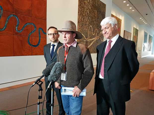 COMMISSION OF INQUIRY: Chinchilla cattleman Kane Booth and Bob Katter address the media about the CSG bill.