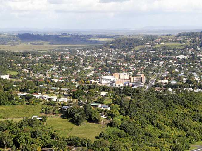 An aerial of Lismore near the base hospital.