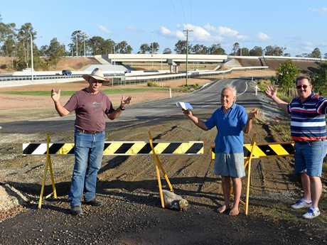 Tinana residents (L) Keryn Staib, Gerald Harvey and Lester Imhoff want to see the roadworks by-pass road connected to Glen-ville Place for safer access for people at the Country Stop Over Caravan Park.
