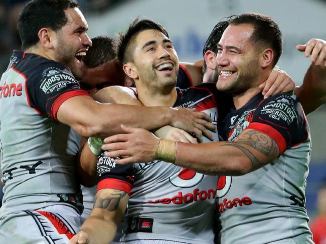 Bodene Thompson (right) celebrating with teammates.Source:News Corp Australia