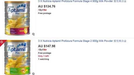 The cans of formula that retail for about $20 are being resold on eBay at a significant profit.