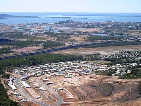 Aerial view of Gladstone showing development of new areas for housing.