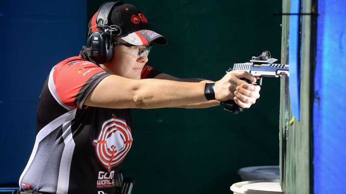 Ipswich Pistol Club member Karla Blowers won her third consecutive world title at the recent International Practical Shooting Confederation shoot in France.