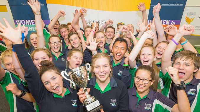 Riverside Christian College students celebrate their victory at the Queensland Science and Engineering Super Challenge.
