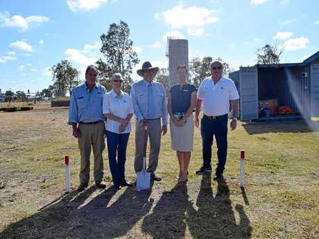 TURNING THE SOD: Moura Miners Memorial. John Walker, Mina McGuire, Mayor Nev Ferrier, Councillor Brooke Leo and Charlie Seeney.