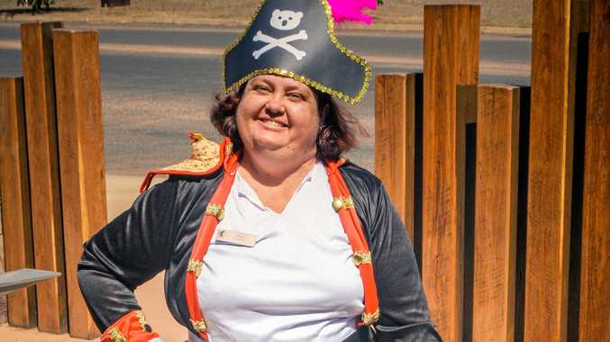 AHOY MATEY: Clermont Library assistant Laura Crichton at Talk Like A Pirate Day.
