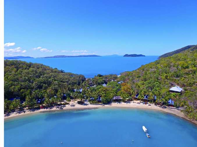 LOCATION, LOCATION: An aerial shot over Palm Bay Resort, located on Long Island in the Whitsundays.