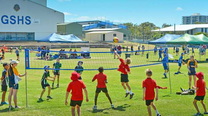 BIG HIT: Boyne Island State School's Louis Bright attacks the ball during the Primary Schools Cup.