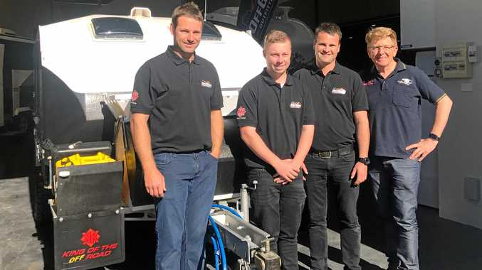 ORDERS FLOODING IN: Kimberley Kampers Sydney dealers Ryan Gudiksen, Ryan Hunt and Blake Fittler with director Bruce Loxton. Mr Loxton said the new dealership is greatly boosting sales, so the company is looking to fill 10 positions in Ballina.