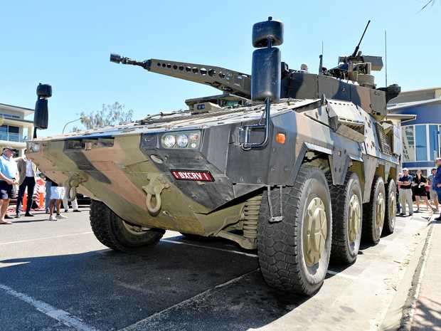 The BOXER CRV is a 35 tonne combat reconnaissance vehicle at Maroochydore has rolled into Rocky today as part of a Queensland roadshow for Rheinmetall Defence Australia to scout regional and rural business fro its global supply chain.