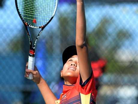 ON COURT: Rockhampton Grammar's Hillary Tjandramulia in full flight at the Queensland Schools Tennis Championships at Victoria Park.