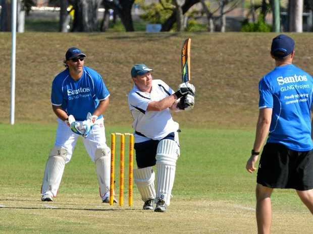 OVER COW CORNER: GPC's Jason Holzberger finds the boundary line with this hoik over mid-wicket.