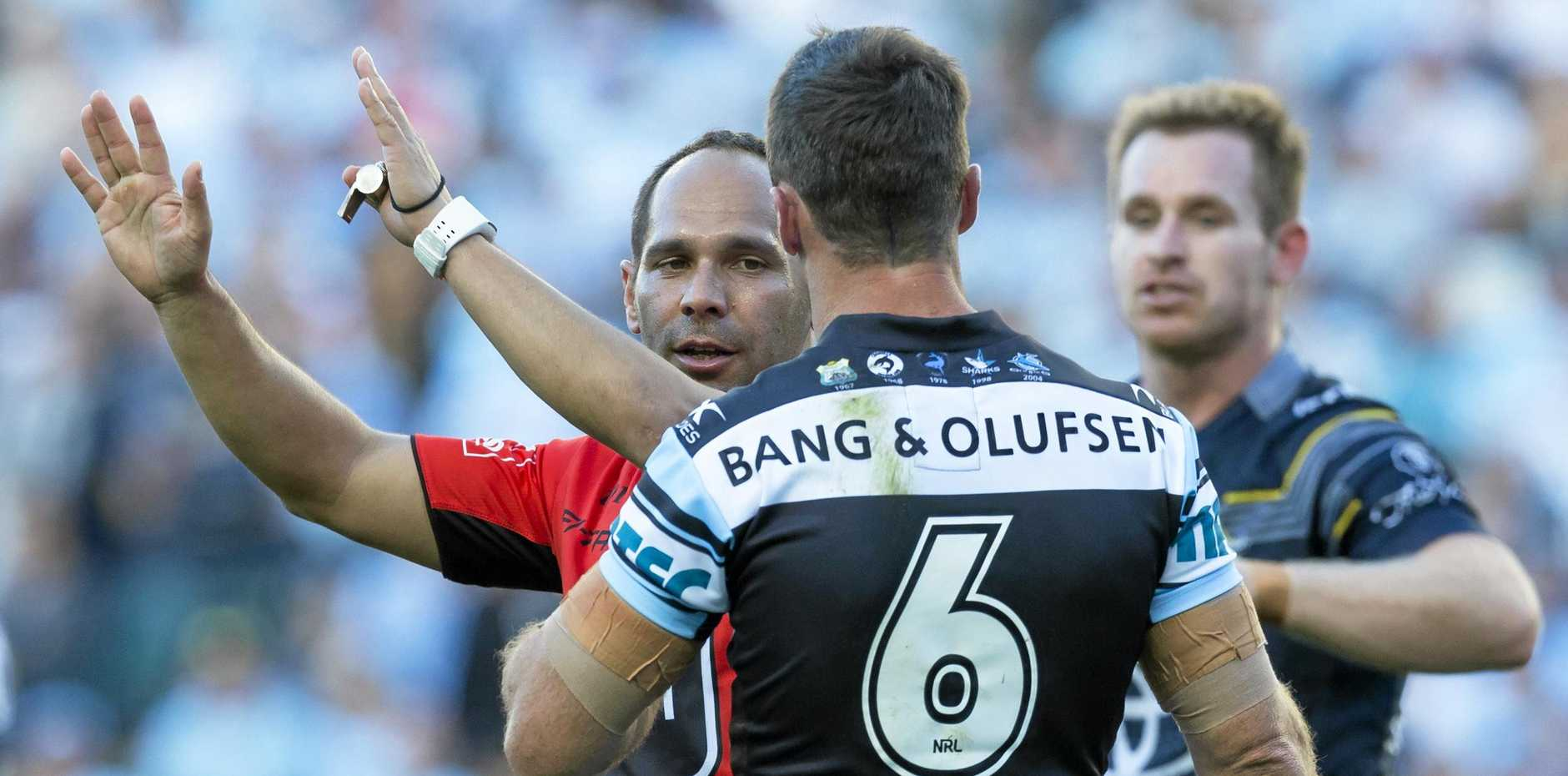 Referee Ashley Klein sends James Maloney of the Sharks to the sin bin during the NRL elimination final against the Cowboys.
