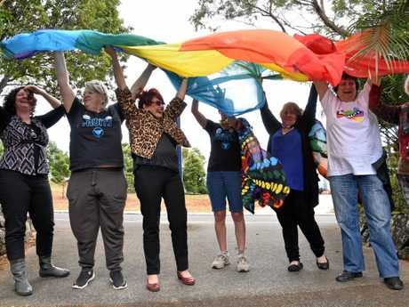 Ready to raise the rainbow flag up the flagpole at the Lismore City Council chambers.